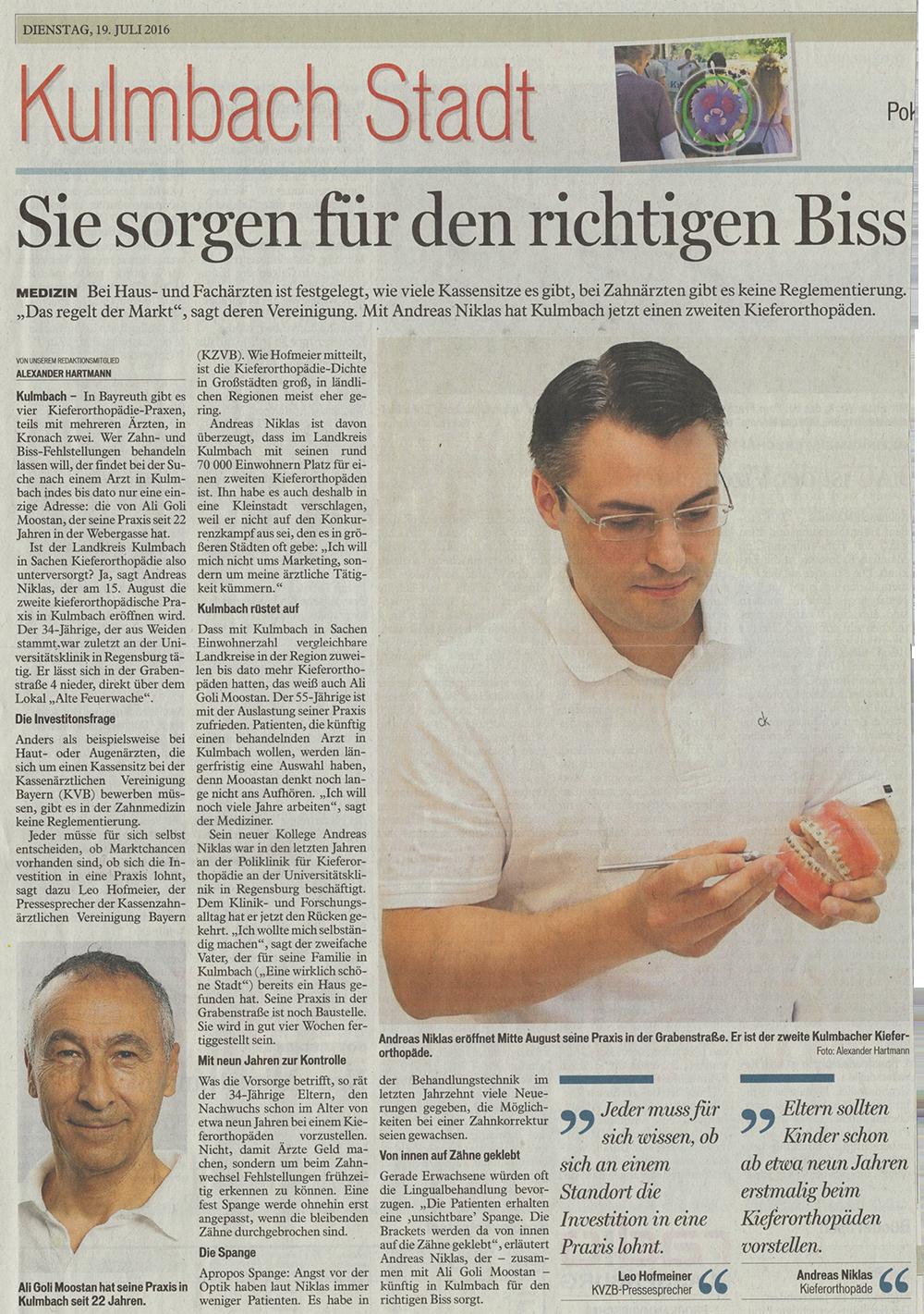 Bericht über die Gründung der Fachpraxis für Kieferorthopädie von Dr. Andreas Niklas in Kulmbach
