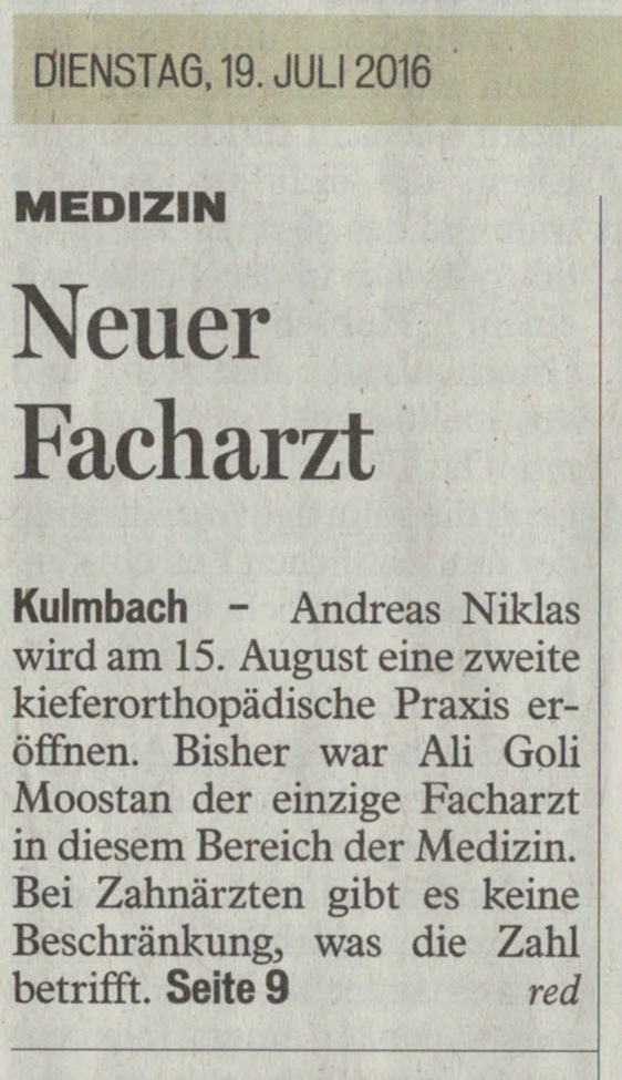 Neuer Facharzt - Kieferorthopädie Kulmbach Dr. Niklas